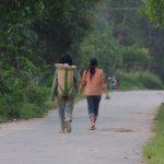 少数民族の村の朝