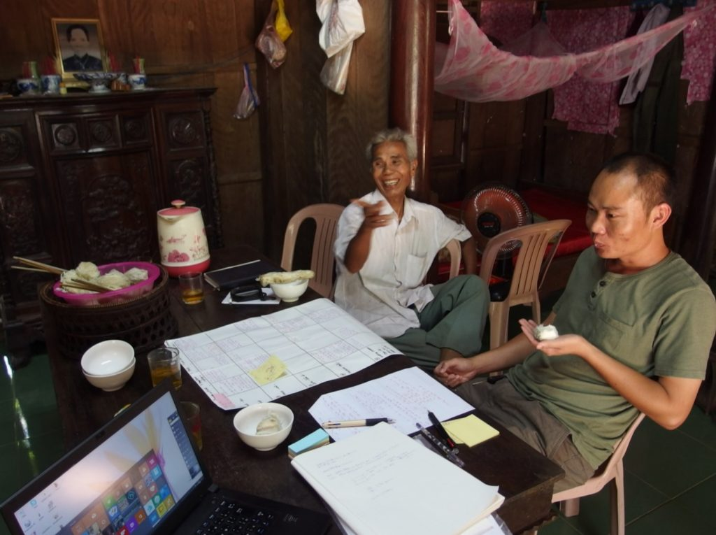 カオさんと調査協力者と、フエ省・ベトナム